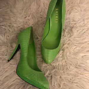 041bdfa026d Ralph Lauren green snakeskin heels